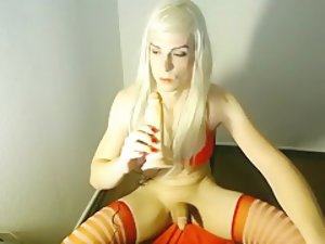 Crazy Homemade Shemale clip with Stockings, Blonde scenes