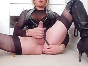 Crazy Amateur Shemale movie with Mature, Stockings scenes