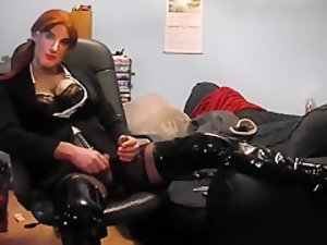 Hottest Homemade Shemale record with Latex, Stockings scenes