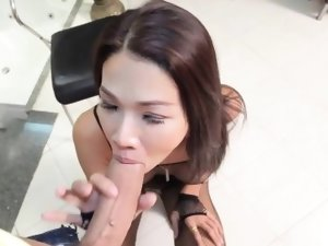 Postop bodysuit ladyboy beauty facialized