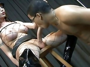 Shemale with huge cock fucks and gets fucked