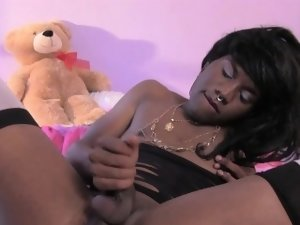 Transitioning ebony femboy jerking cock