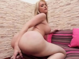Bigtitted tgirl pulling hard on her dick