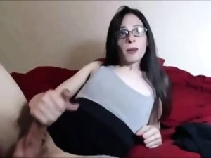 Tranny with her glasses on self- facial