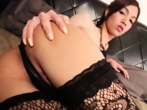 Petite tugging ladyboy squeezes one out